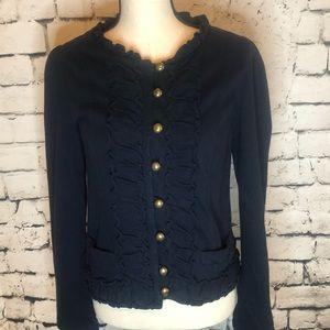 Kut from the Kloth blue ruffle knit jacket blazer